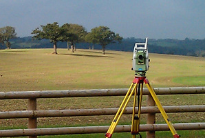 Surveying total station instrument by field