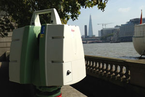 Laser scanner by river